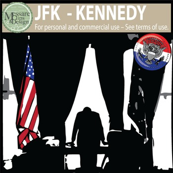 President John F. Kennedy - JFK Clip Art {Messare Clips and Design}