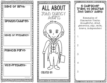 President John Quincy Adams - Biography Research Project - Interactive Notebook