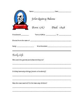 President John Quincy Adams Research Activity