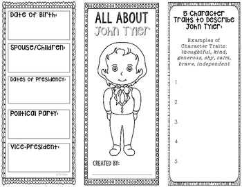 President John Tyler - Biography Research Project - Interactive Notebook