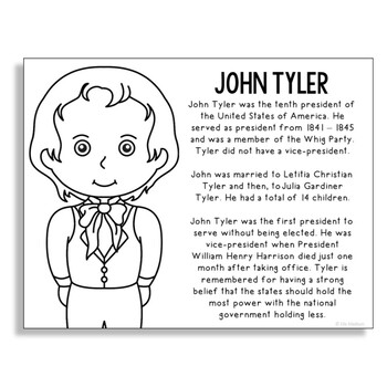 President John Tyler Coloring Page Craft Or Poster With Mini Biography