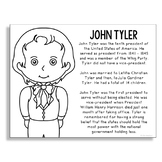President John Tyler Coloring Page Craft or Poster with Mi