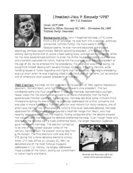 President Kennedy Overview: Reading and Graphic Organizer