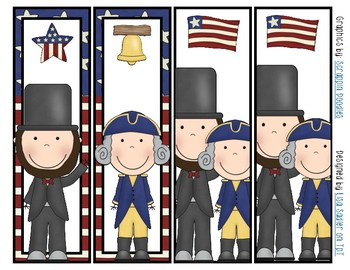President Lincoln and Washington Bookmarks Color and B/W