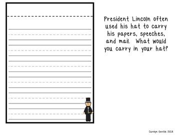 President Lincoln's Hat Craft and Writing Activity