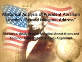 "President Lincoln's ""Second Inaugural Address"" Common Core Rhetorical Analysis"