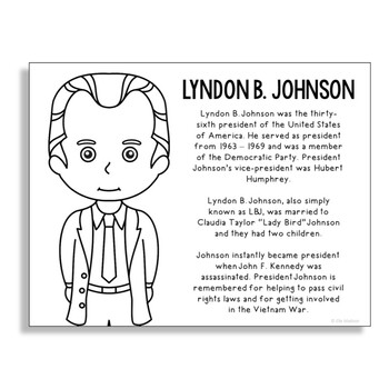President Lyndon B. Johnson Coloring Page Craft or Poster with Mini Biography