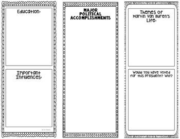 President Martin Van Buren - Biography Research Project - Interactive Notebook