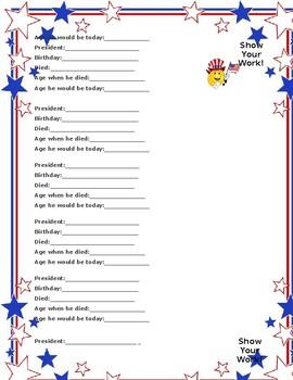 President Math Sheet