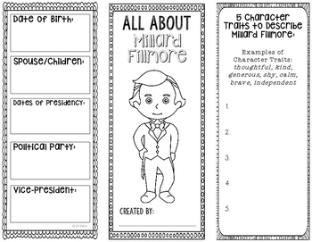 President Millard Fillmore - Biography Research Project - Interactive Notebook