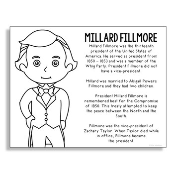President Millard Fillmore Coloring Page Craft or Poster with Mini Biography