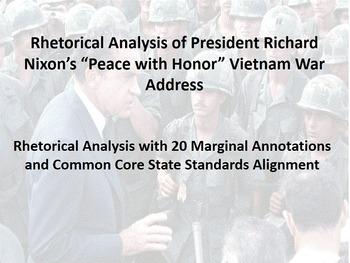 "President Nixon's ""Peace with Honor"" Vietnam War Address Rhetorical Analysis"