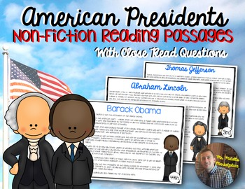 President Non-Fiction Reading Passages: A Comprehension by Color Activity