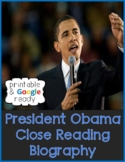 President Obama Biography Close Reading Comprehension Passage and Questions