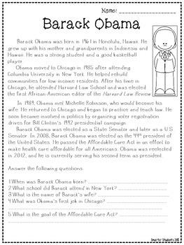 Presidents' Day FREE President Obama Reading Comprehension