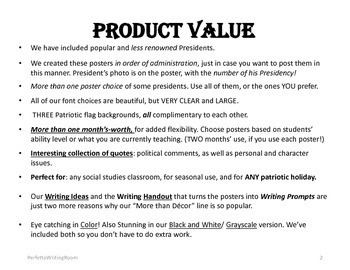 President Posters and Writing Prompts for Grades 6, 7, 8, 9, 10, 11, 12