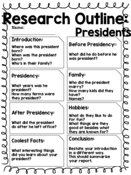 Report Outline: A President