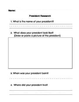 President Research Graphic Organizer Write