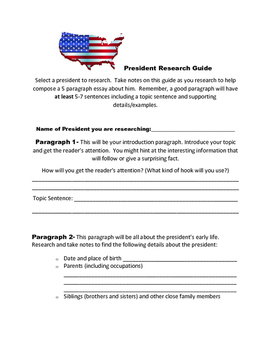 Biography Outline & Rubric for Presidents' Day