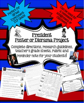 President Research Poster or Diorama Project: Perfect for Gifted Enrichment!