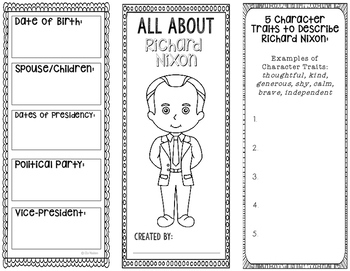 President Richard Nixon - Biography Research Project - Interactive Notebook