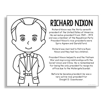 President Richard Nixon Coloring Page Craft or Poster with Mini Biography