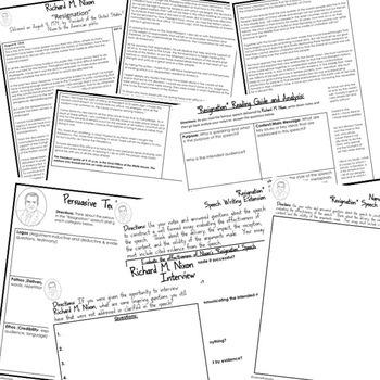 President Richard Nixon Resignation Speech Analysis & Writing Activity