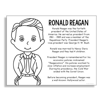 President Ronald Reagan Coloring Page Activity or Poster w
