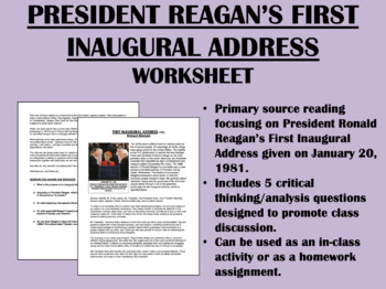 """First Inaugural Address"" - Ronald Reagan - 1980s - USH/APUSH"