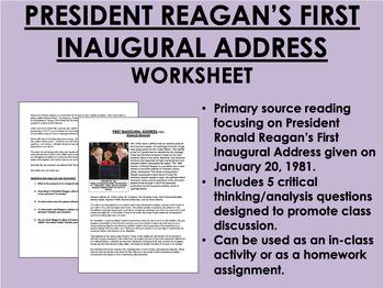 """First Inaugural Address"" - Ronald Reagan - 1980s - USH/APUSH"