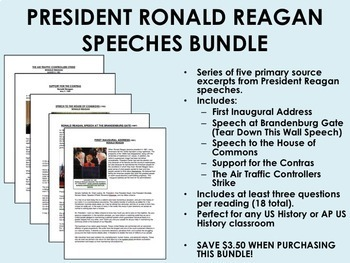President Ronald Reagan Speeches Bundle - US History/APUSH