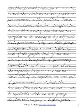 President Ronald Reagan's 1981 Inaugural Address (Excerpt)-Cursive Copywork