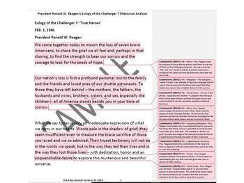 President Ronald W. Reagan Lot of 3 Rhetorical Analyses of Famous Speeches