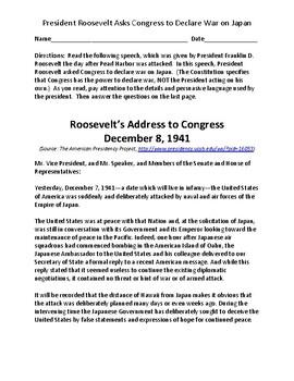 President Roosevelt asks Congress to Declare War on Japan - Speech and Questions