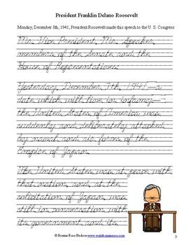 President Roosevelt's Speech to Congress, December 8, 1941-Cursive Copywork