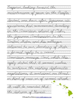 President Roosevelt's Speech to Congress, December 8, 1941-Cursive Copywork