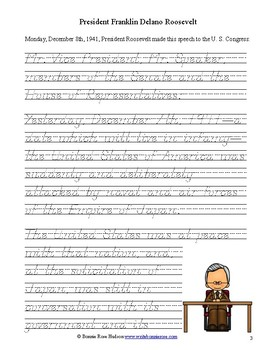 President Roosevelt's Speech to Congress, December 8, 1941-Manuscript Copywork