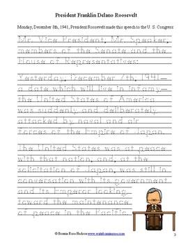 President Roosevelt's Speech to Congress, December 8, 1941-Print Copywork