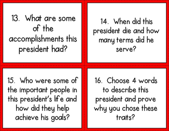 President Task Cards: Companion Activity for Who Was (Is) Series