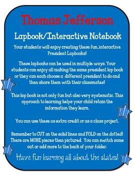 President Thomas Jefferson Lapbook & Interactive Notebook