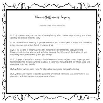 President Thomas Jefferson's Legacy Biography Comprehension Passages