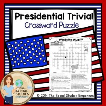 Presidential Trivia Crossword Puzzle