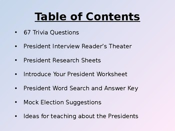 President Trivia and More