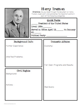 President Truman Overview: Reading and Graphic Organizer