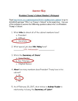 President Trump's Cabinet Members Webquest
