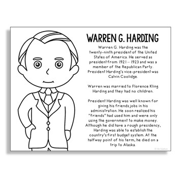President Warren G. Harding Coloring Page Craft or Poster with Mini Biography