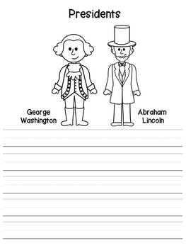 President Washington and Lincoln Lined Journal Writing Paper