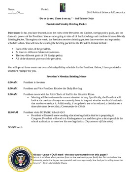 President Weekly Briefing Packet/Schedule Project