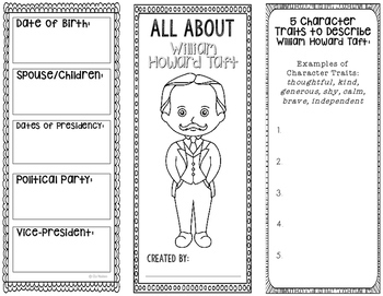 President William Howard Taft - Biography Research - Interactive Notebook