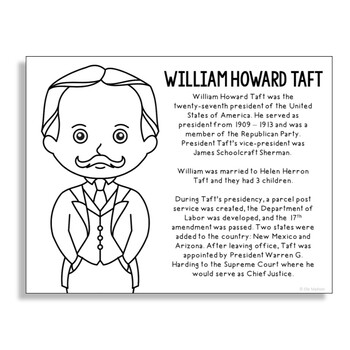 President William Howard Taft Coloring Page Craft or Poster with Mini Biograp